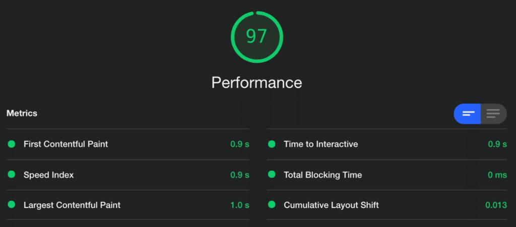novashare.io Lighthouse score on GeneratePress theme