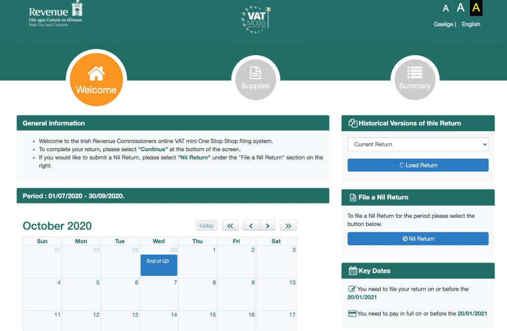 VAT MOSS calendar