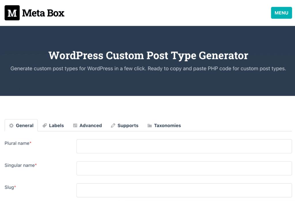 WordPress custom post type generator
