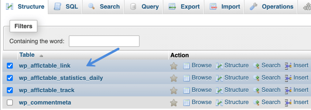 Select database tables in phpMyAdmin