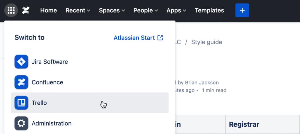 Atlassian switch between apps
