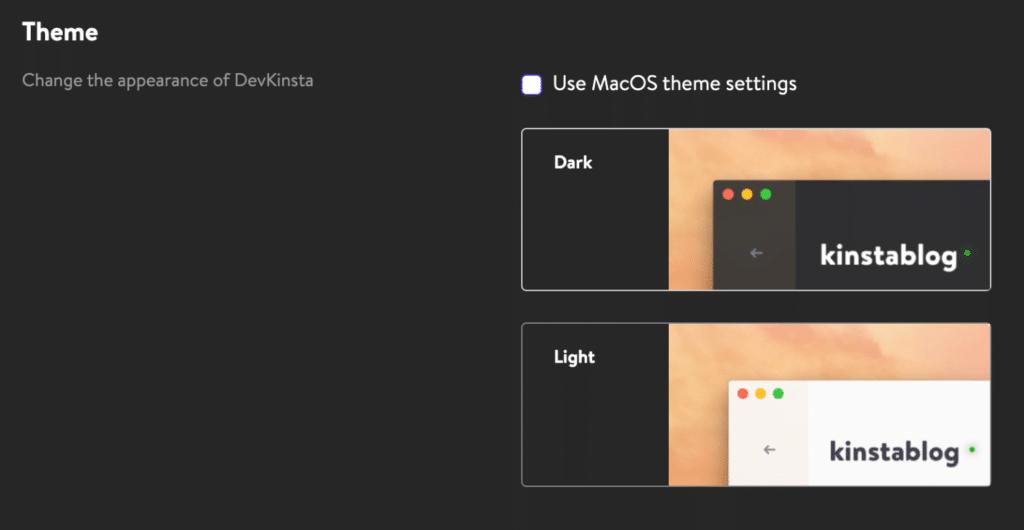 DevKinsta dark and light theme
