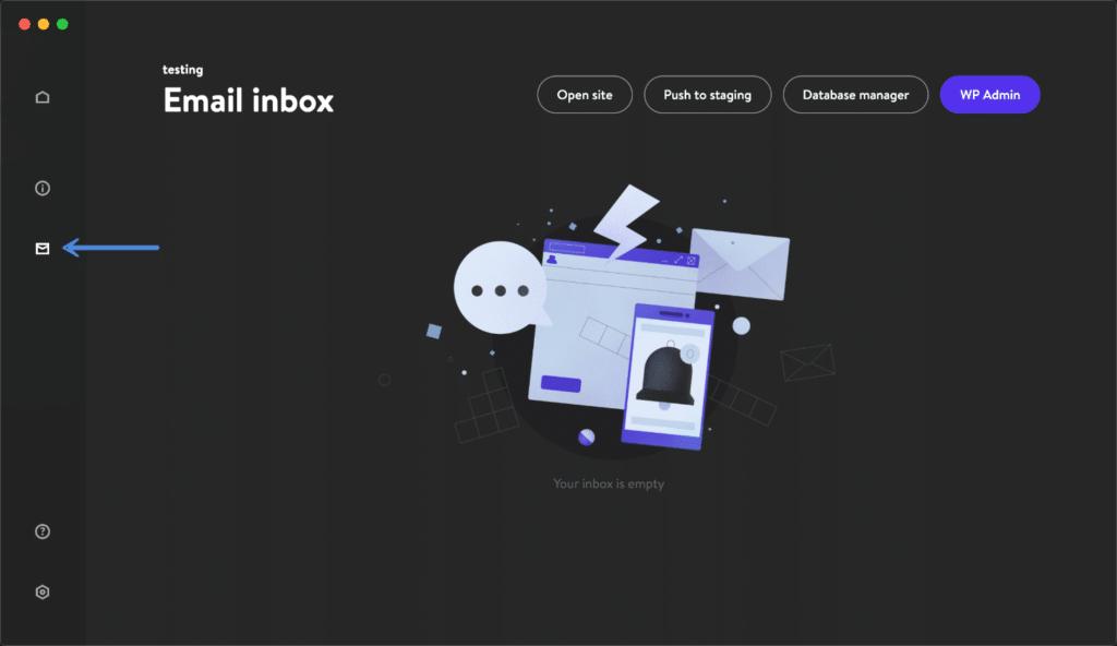 DevKinsta Email inbox
