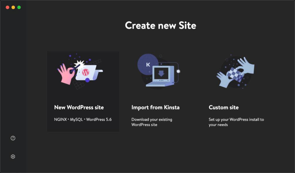 DevKinsta new WordPress site