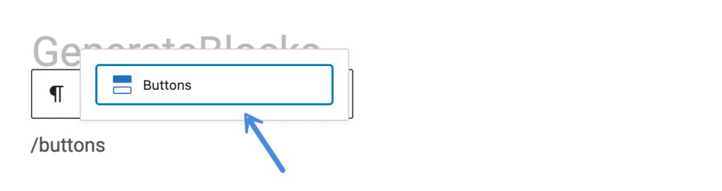 GenerateBlocks Buttons block