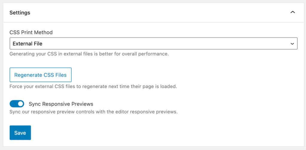 GenerateBlocks CSS print method