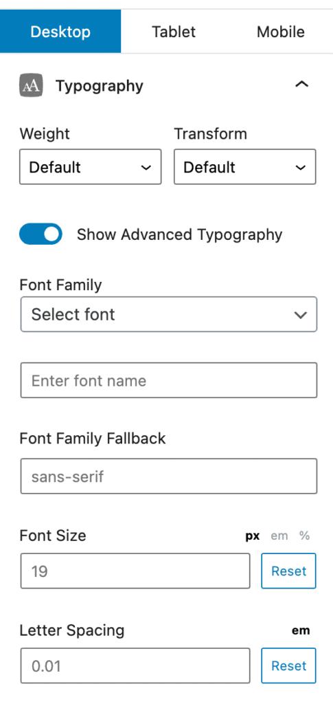 GenerateBlocks Typography