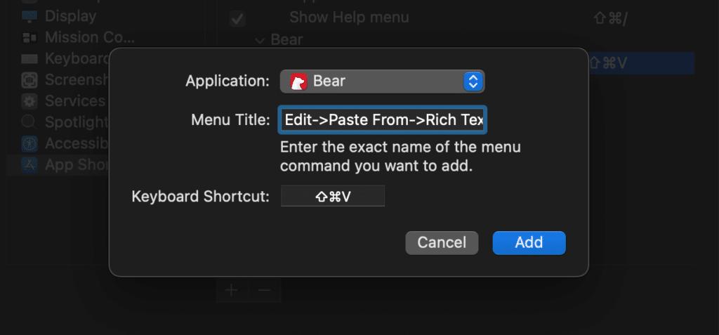 Add keyboard app shortcut