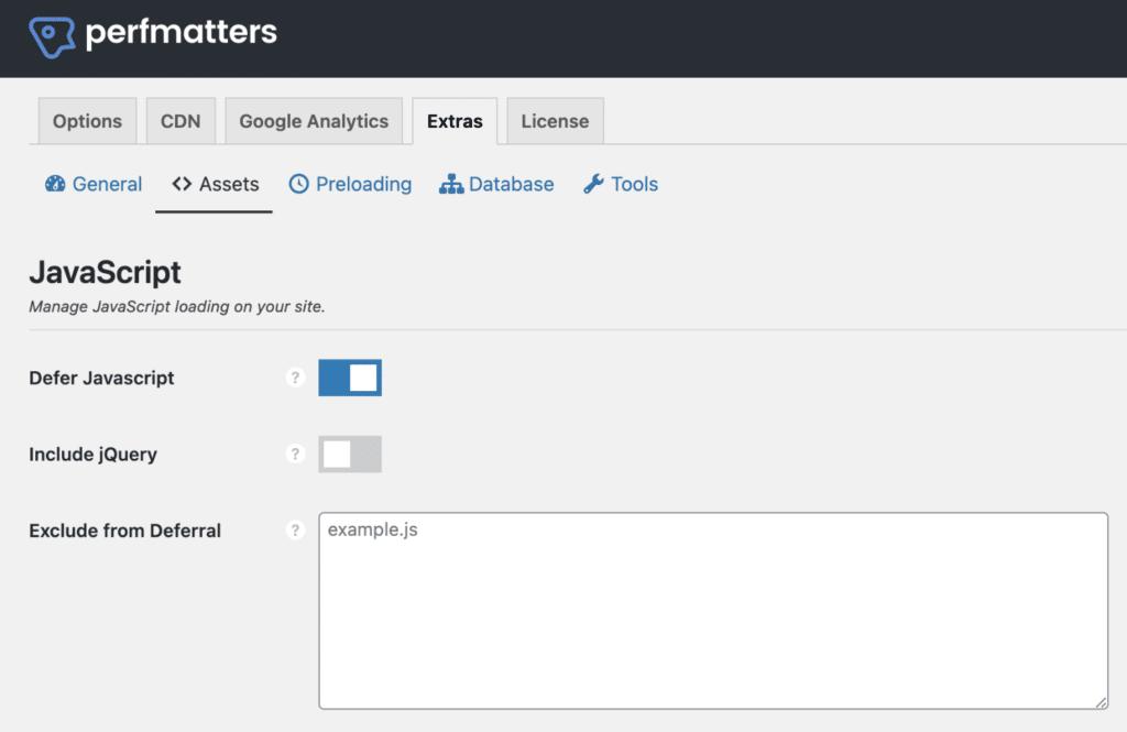 Defer JavaScript in Perfmatters