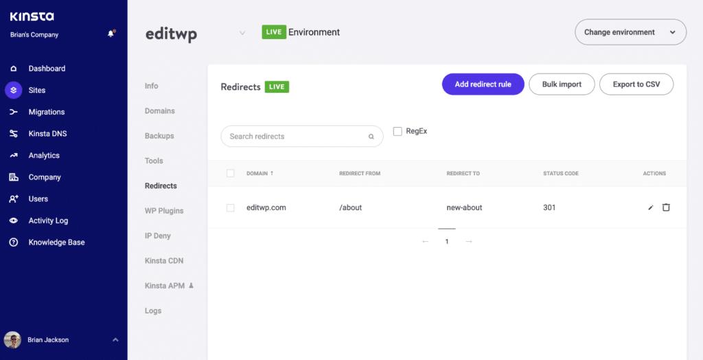 WordPress redirects at server level