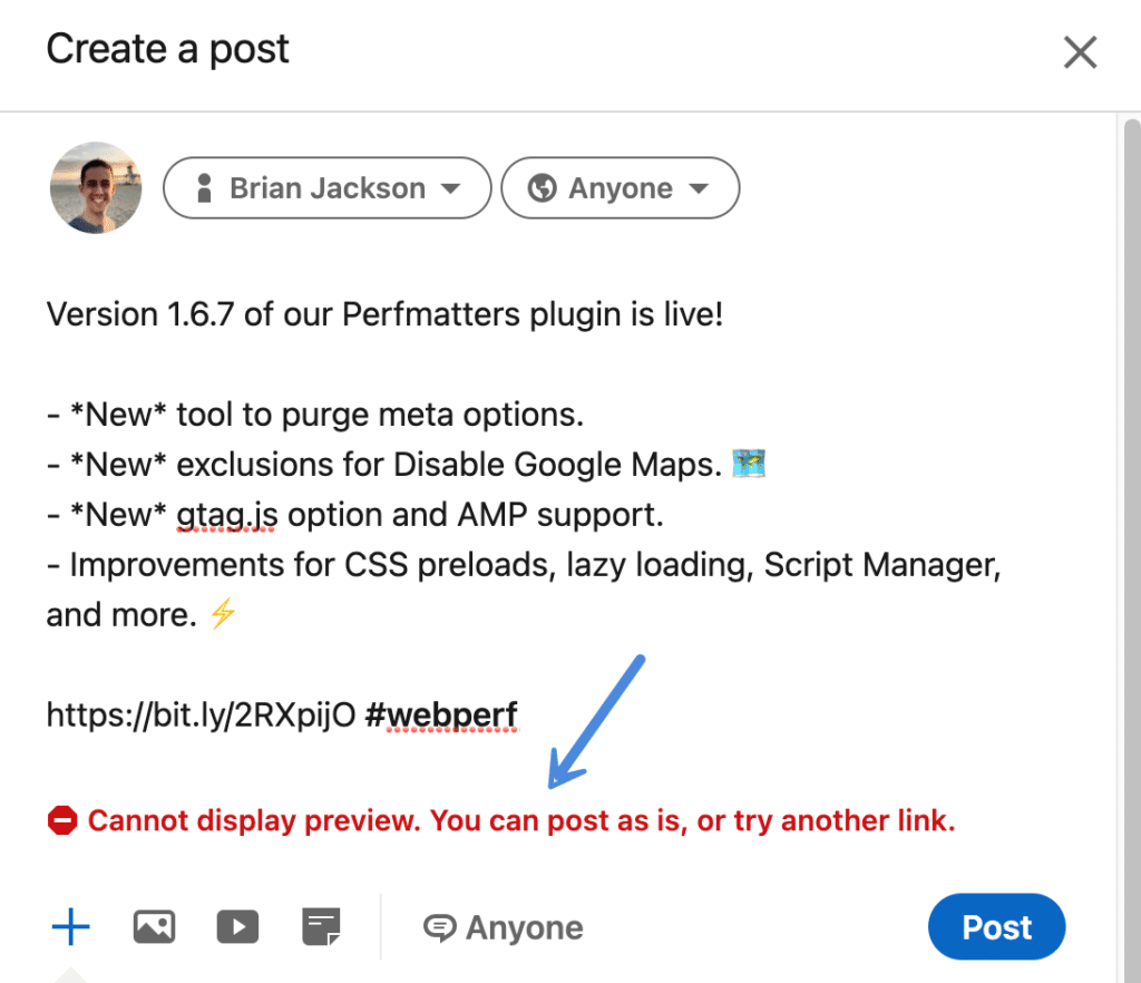 LinkedIn cannot display preview error