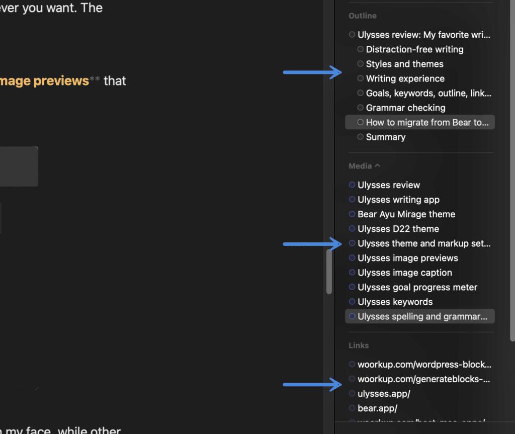 Ulysses outline, media, and links