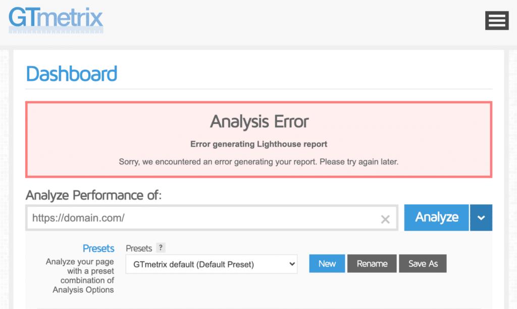 GTmetrix error generating lighthouse report