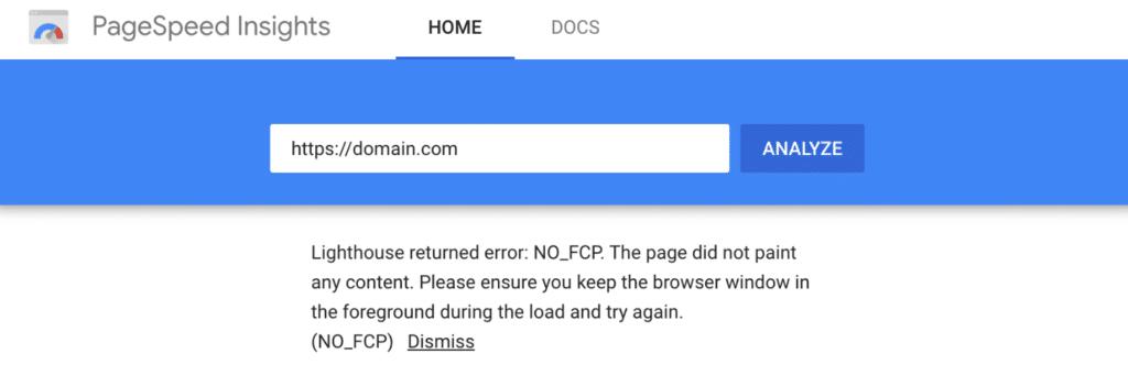 Lighthouse returned error: NO_FCP