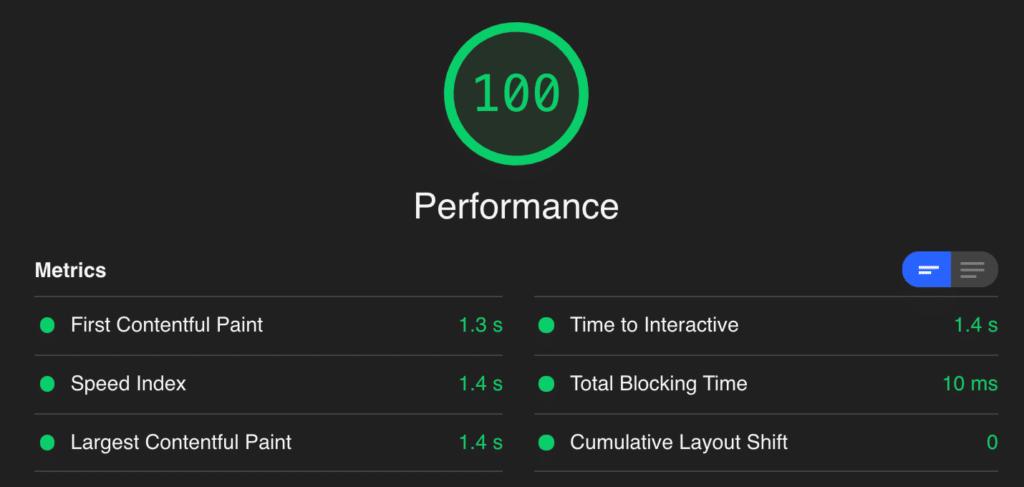 perfmatters.io Google Core Web Vitals score