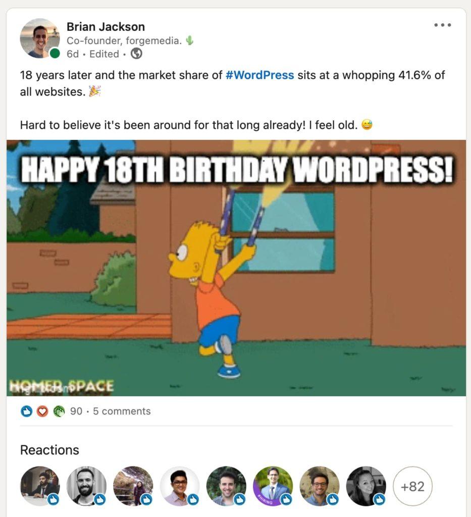 Sharing humor on LinkedIn