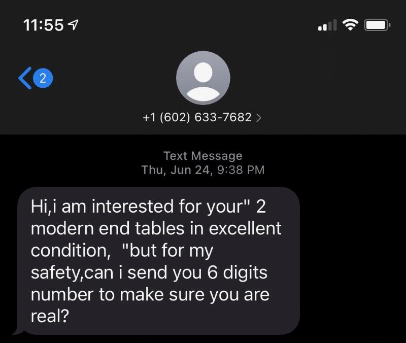 Craiglist sending 6 digits scam
